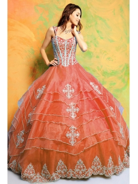 Discount Luxurious ball gown straps floor-length quinceanera dresses STYLE 3132