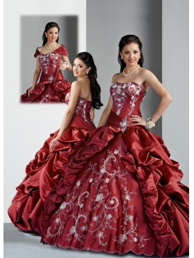 Discount Popular ball gown strapless  floor-length quinceanera dresses 1619