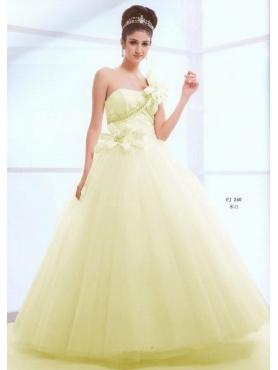Discount Simple ball gown one shoulder floor-length quinceanera dresses 1612