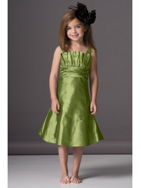 Discount Elegant green A-Line square neck tea-length WAWA Flower Girl Dresses Style 46950