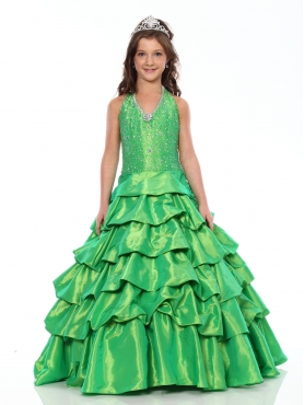 Discount Lovely green ball gown halter floor length Versei Girls Pageant Dress 1030 by Showtime