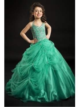 Discount Unique green Fashions A line halter floor length  Baby Pageant Dresses g071403