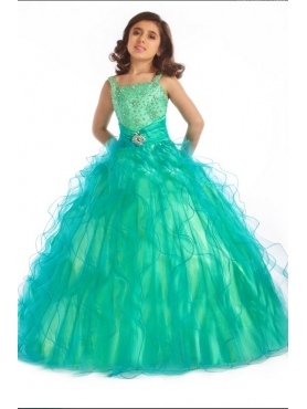 Discount Unique green Fashions A line square  floor length  Baby Pageant Dresses g071412