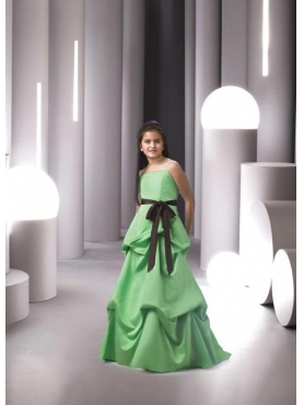 Discount Affordable green A-Line Strap floor length Flower Girls Pageant Dresses Style 1389 89