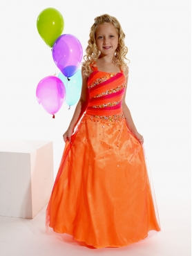 Discount Affordable Orange A-Line  Strap  floor length Pageant Dress for Girls by Tiffany Princess 13262