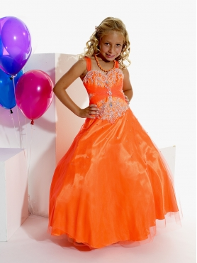 Discount Affordable Orange  A-Line  Strap floor length Pageant Dress for Girls by Tiffany Princess 13266