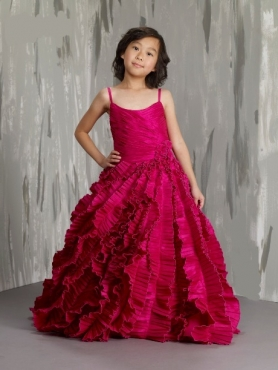 Discount Affordable Red A-Line Strap floor length Little Girl Pageant Dresses M73981-P