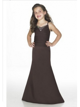 Discount Beautiful Brown Column Strap floor length Flower Girls Pageant Dresses style 2904