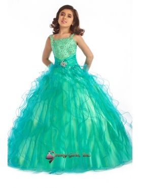 Discount Beautiful green ball gown square neck floor length little girldresses Y063015