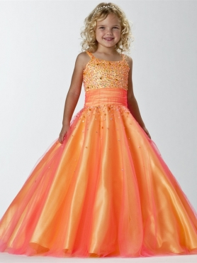 Discount Beautiful Orange Ball gown Strap floor length Little Girl Pageant Dress 13243