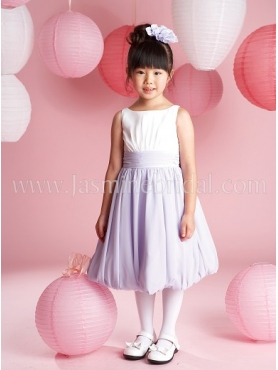 Discount Beautiful Purple A-Line Scoop tea length Flower Girls Pageant Dresses CF801