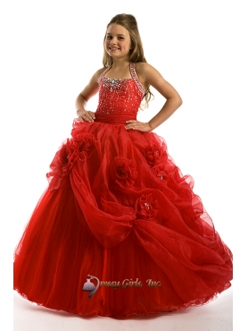 Discount Beautiful Red ball gown halter floor length little girldresses Y063022