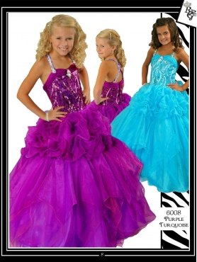 Discount Brand new Purple ball gown strap floor-length Purple Pageant Dress Ritzee Girls 6008