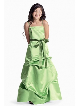 Discount Cute green A-Line square neck tea-length WAWA Flower Girl Dresses - Style 41283
