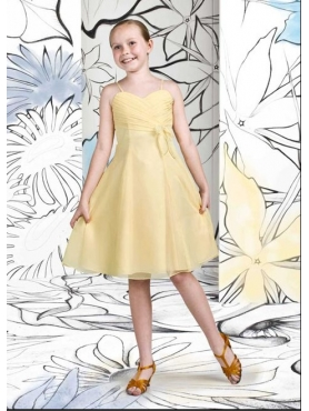 Discount Cute Yellow A-Line Strap knee length Flower Girls Pageant Dresses Style 1685