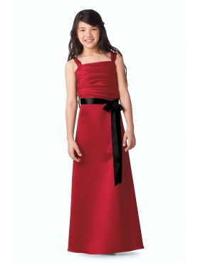 Discount Elegant Red A-Line square neck tea-length WAWA Flower Girl Dresses - Style 42216