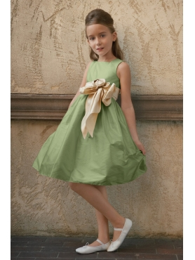 Discount Exclusive green A-Line square neck tea-length WAWA Flower Girl Dresses - Style 45076