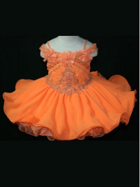 Discount Fashions Little Rosie  Orange A line off the shoulder Baby Girls Pageant Dress 1009