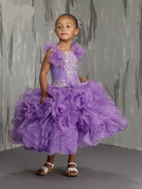 Discount Lovely Purple Ball gown Strap tea length Little Girl Pageant Dresses M1844