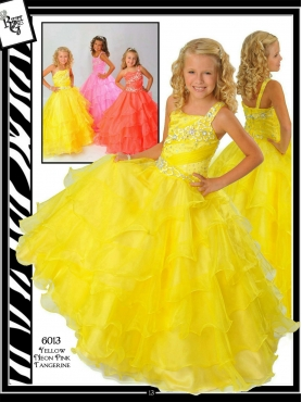 Discount Lovely Yellow ball gown strap floor length  Pageant Dress Ritzee Girls 6013