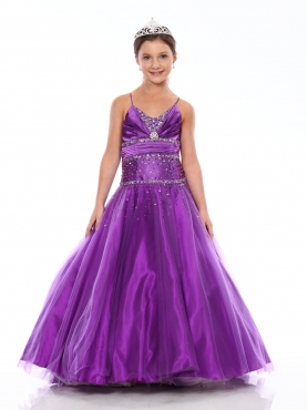 Discount Pretty Purple A-line floor length v-neck Versei Girls Pageant Dress 1100 by Showtime