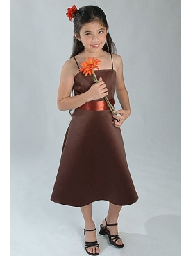Discount Simple Brown A-Line square neck tea-length WAWA Flower Girl Dresses - Style 40225