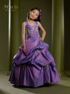 Discount The most Popular Purple A-Line Strap floor length Little Girl Pageant Dresses M73940-P