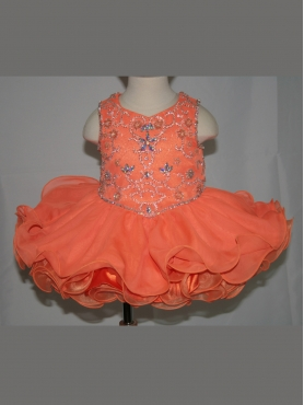 Discount Unique Fashions  Orange A line scoop Tea length  Rosie Baby Girls Pageant Dress