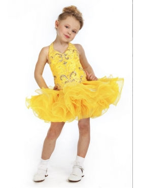 Discount Unique Fashions Yellow A line V-neck Tea length  Baby Pageant Dresses g071399
