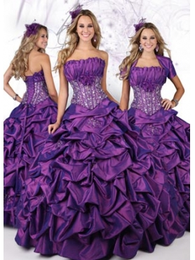 Discount 2012 Beautiful Ball gown Strapless Floor-length Quinceanera Dresses Style 80094