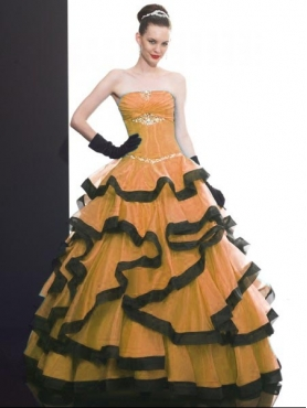 Discount 2012 Elegant ball gown strapless floor-lenth quinceanera dresses Q506
