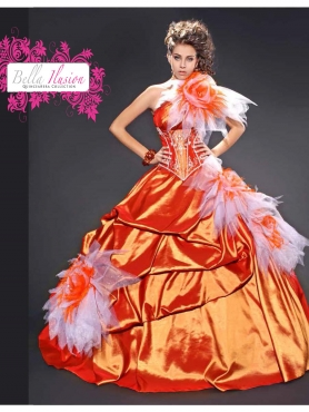 Discount 2012 Modern ball gown one shoulder floor-length quinceanera dresses 7063