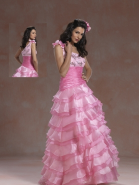 Discount 2012 Sweet A-line one shoulder floor-length quinceanera dresses 5952