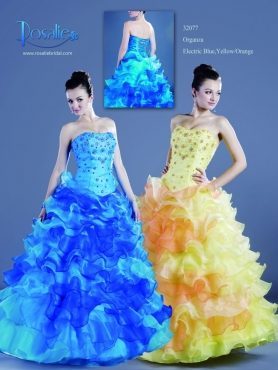 Discount 2012 Beautiful Ball gown Strapless Floor-length Quinceanera Dresses Style 32077