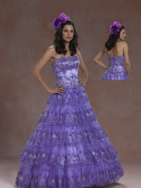 Discount 2012 Popular A-line strapless floor-length quinceanera dresses 5957