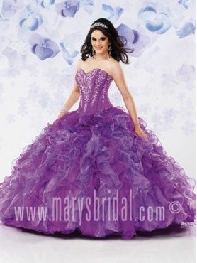 Discount 2012 Romantic Ball gown Strapless Floor-length Quinceanera Dresses Style S12-4116