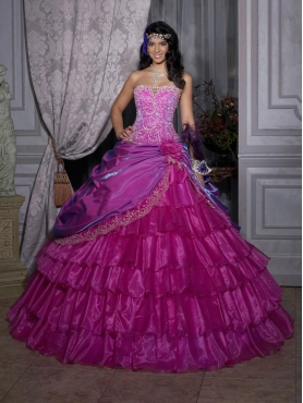 Discount 2012 Wonderful detachable ball gown strapless floor-length quinceanera dresses 26686