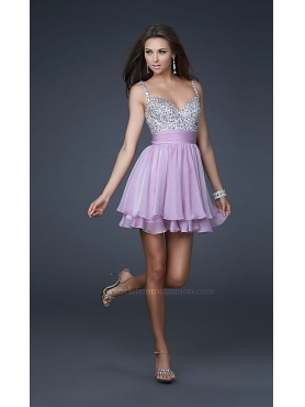 Discount Cute Short Embellished Party Dress by La Femme LF-16813