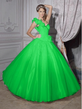 Discount 2012 New style ball gown one shoulder floor-length quinceanera dresses 56202