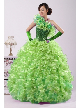 Discount 2012 Gorgeous Ball gown One-shoulder Floor-length Quinceanera Dresses Style NQD072