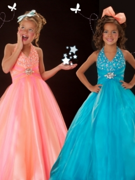Discount 2012 Amazing Ball gown Halter top neck Blue Floor-length Flower Girl Dresses Style 4862S