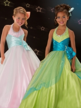 Discount 2012 Amazing Ball gown Halter top neck Floor-length  Green Flower Girl Dresses Style 4708S