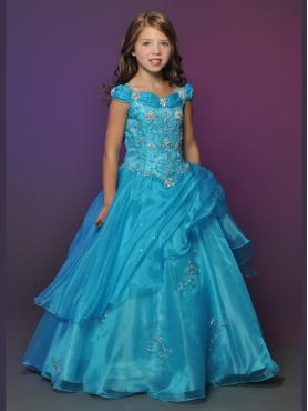 Discount 2012 Amazing Ball gown Off the shoulder Floor-length Blue Flower Girl Dresses Style 539