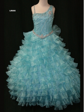 Discount 2012 Amazing Ball gown One-shoulder Blue Floor-length Flower Girl Dresses Style LR666