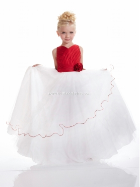 Discount 2012 Amazing Red A-Line V- neck Floor-length Flower Girl Dresses Style 53110