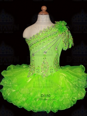 Discount 2012 Beautiful Ball gown One shoulder Short  Green Flower Girl Dresses Style D110
