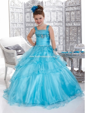 Discount 2012 Beautiful Ball gown Square Floor-length Blue Flower Girl Dresses Style 33425