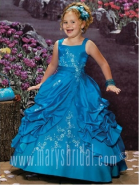 Discount 2012 Beautiful Ball gown Square Floor-length Blue Flower Girl Dresses Style S11-F930