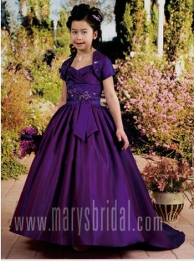 Discount 2012 Beautiful Purple A-Line Strap Sweep Train Flower Girl Dresses Style F11-F962