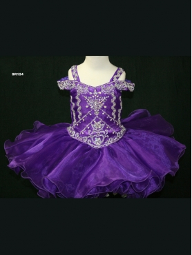 Discount 2012 Beautiful Purple Ball gown Off the shoulder Short Flower Girl Dresses Style SR124